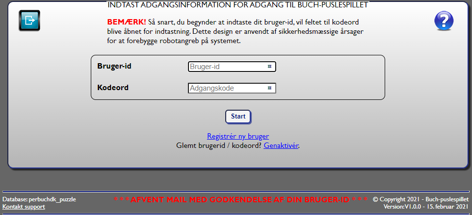 Fig. 5: Retur til login med information om registrering