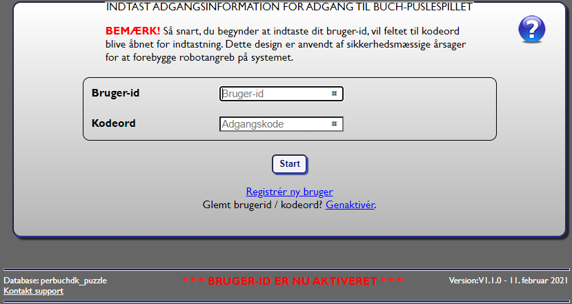 Fig. 7: Retur til login med information om aktivering